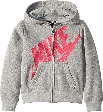 61eb0b4ff526 Nike Kids Girl s Futura Full Zip Hoodie (Little Kids) Dark Gray Heather Rush