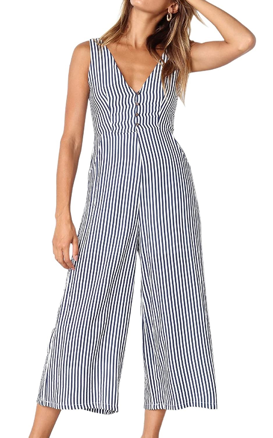 fd579ff49040 Amazon.com  ECOWISH Womens Jumpsuits Casual Button Deep V Neck Sleeveless  High Waist Wide Leg Jumpsuit Rompers with Pockets  Clothing