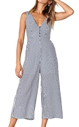 3c86920b166 Amazon.com  ECOWISH Womens Jumpsuits Casual Button Deep V Neck Sleeveless  High Waist Wide Leg Jumpsuit Rompers with Pockets  Clothing