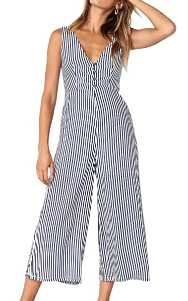 1502637cb89 ECOWISH Womens Jumpsuits Casual Button Deep V Neck Sleeveless High Waist  Wide Leg Jumpsuit Rompers with Pockets  Amazon.co.uk  Clothing