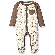 Mud Pie Baby Star Striped One Piece Footed Sleeper, Brown, 0-3 Months
