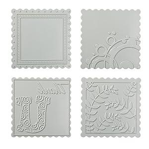 Fiskars 100890-1001 Scalloped Square Design Plate Expansion Pack, Medium, 4-Pack