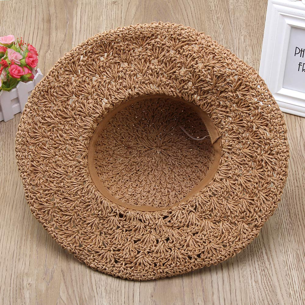 Sainfee Straw Hats for Women Wide Brim Caps Foldable Summer Beach Sun Protective Hat