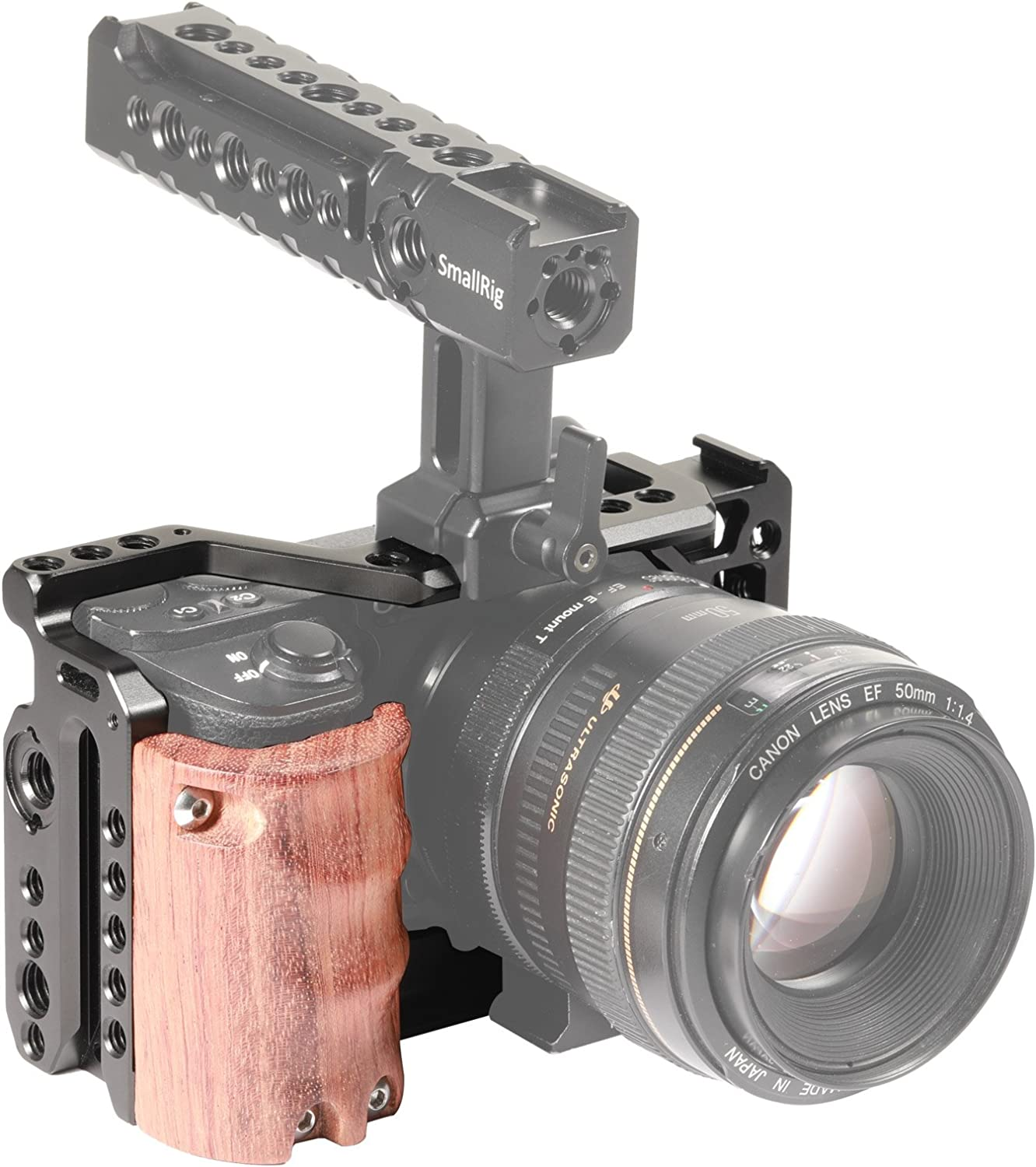 2097 SMALLRIG Camera A6500 Cage Kit with Wooden Handle Hand Grip for Sony Alpha A6500//ILCE-6500 4K Digital Mirrorless Camera