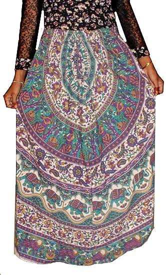 Indian 100% cotton Women Girl Multi color Long Skirt Elephant print Hippie  Plus size ( e305e253d