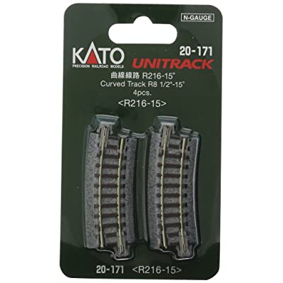 "Kato USA Model Train Products Unitrack, 216mm (8 9/16"") Radius 15-Degree Curve Track (4-Piece): Toys & Games"