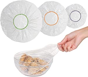 100 Reusable Elastic Food Storage Covers, Plastic Bowl Covers with Elastic Edging, Stretchable Plastic Food Wraps, Elastic Covers for Storage Containers- Available in 3 Sizes