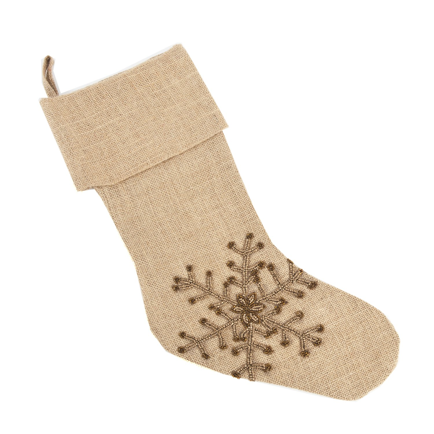 Occasion Gallery Natural Hand Beaded Snowflake Design Jute Burlap Holiday Christmas Stocking, 13'' X 19''
