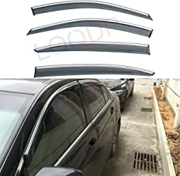 LQQDP 4pcs Smoke Tint With Chrome Trim Outside Mount Tape On//Clip On Style PVC Sun Rain Guard Vent Shade Window Visors Fit 12-17 Toyota Camry
