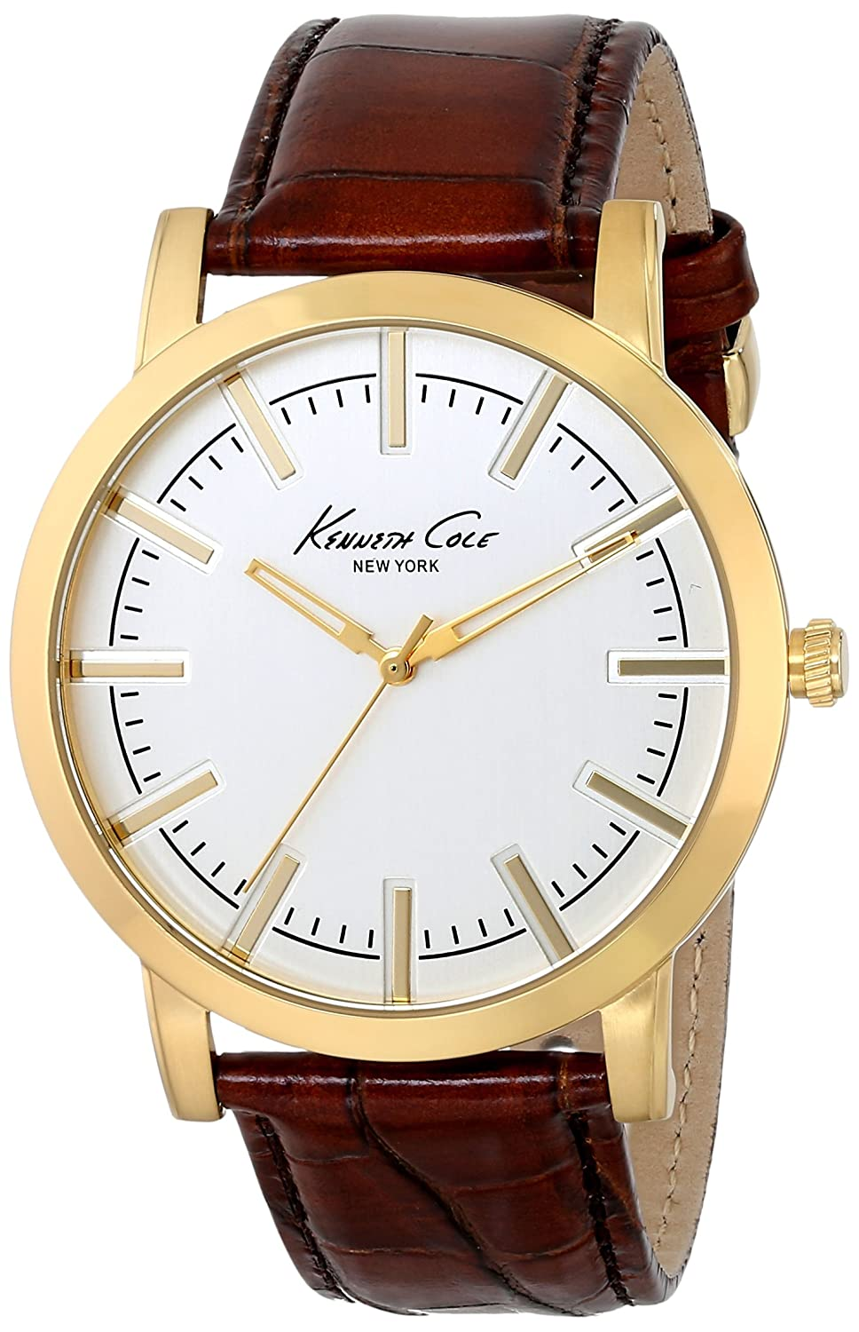 Kenneth Cole New York Men's KC8043 Gold-Tone Watch with Brown Leather Strap