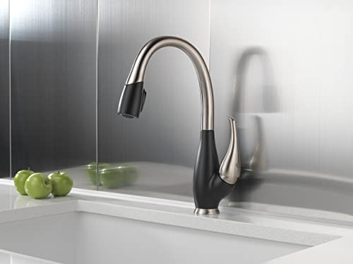 Delta Faucet Fuse Single-Handle Kitchen Sink Faucet with Pull Down Sprayer and Magnetic Docking Spray Head, Stainless and Cracked Pepper 9158-SB-DST