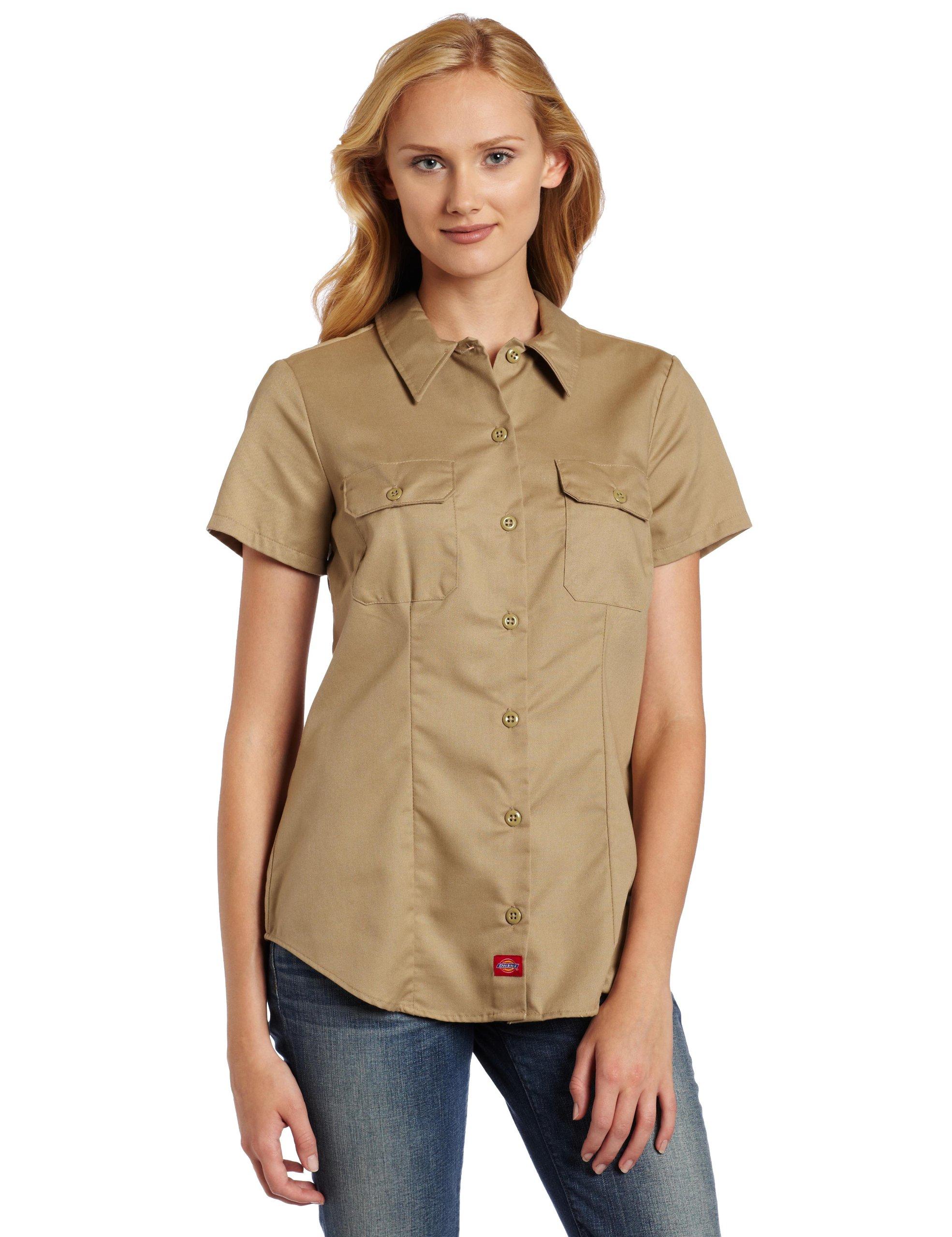 Dickies Women's Short-Sleeve Work Shirt, Khaki, X-Large by dickies