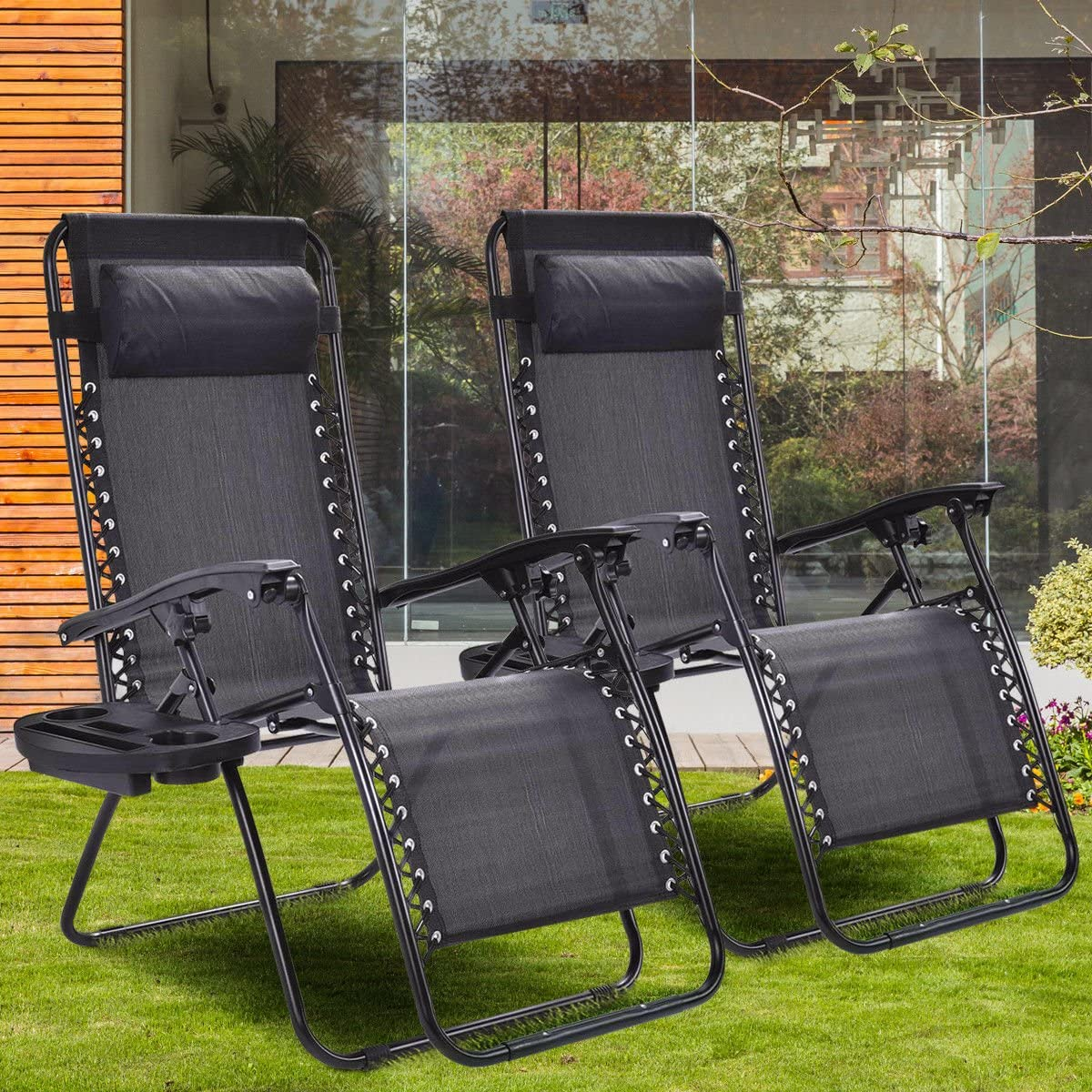 Giantex 2 PCS Zero Gravity Chair Patio Chaise Lounge Chairs Outdoor Yard Pool Recliner Folding Lounge Chair with Cup Holder Black