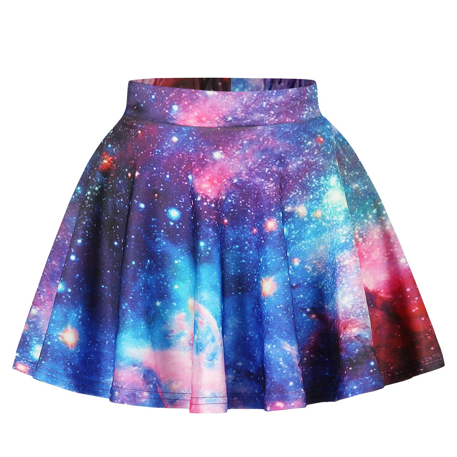 KIDVOVOU Girls 3D Galaxy Van Gogh Print Pleated A-line Skater Mini Skirt Age 8-13 Years