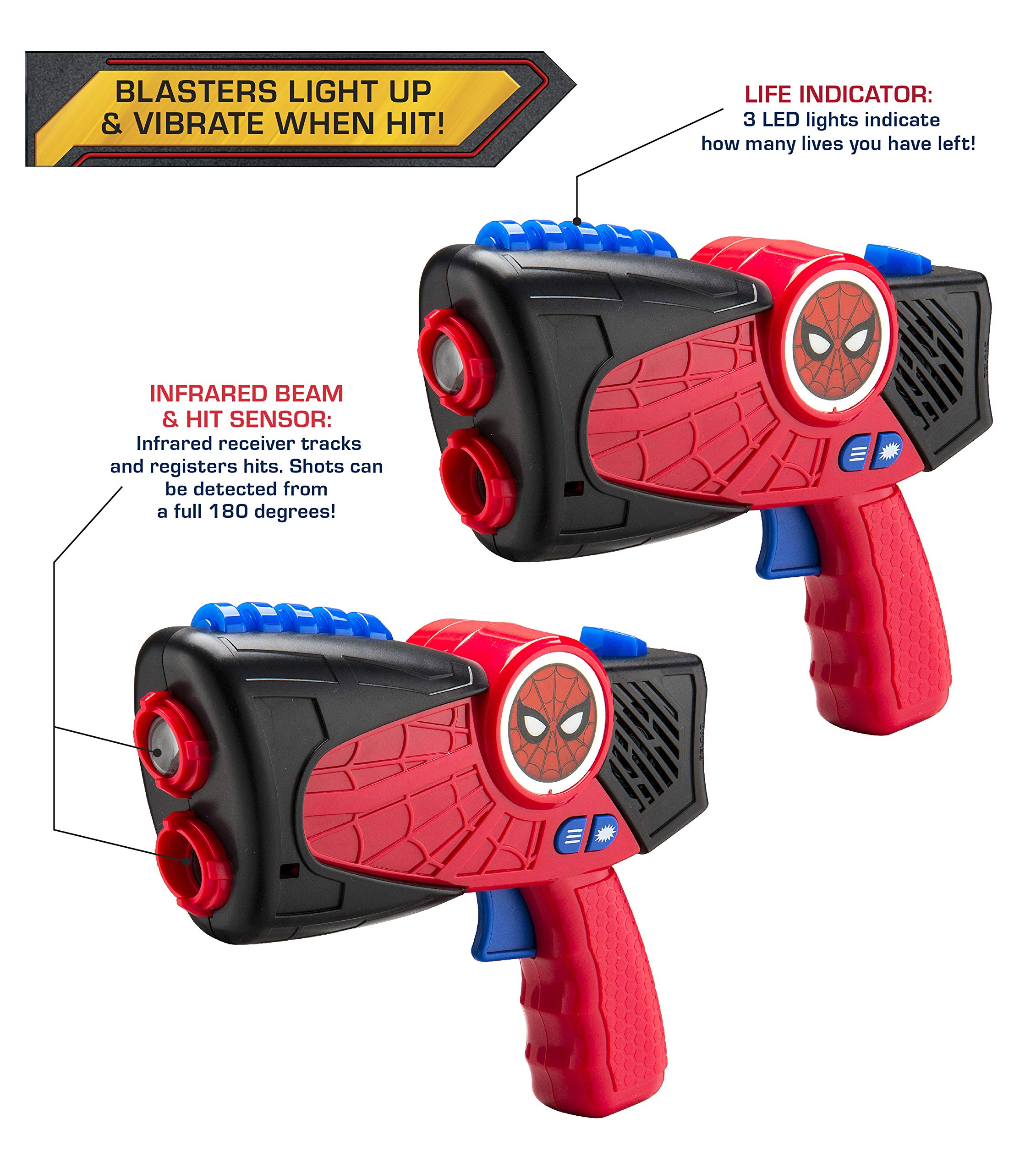Spiderman Far from Home Laser-Tag for Kids Infared Lazer-Tag Blasters Lights Up & Vibrates When Hit by eKids (Image #2)