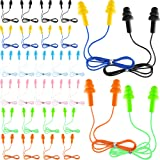 30 Pairs or 60 Pairs Corded Ear Plugs Silicone Waterproof Ear Plugs with Cords for Sleeping Snoring Swimming Shooting, Reusable Ear Plugs Noise Cancelling and Hearing Protection (30)