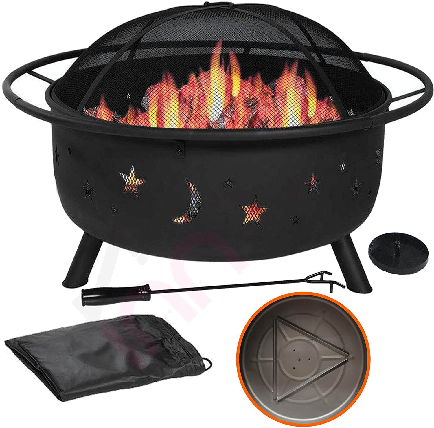 "31"" Outdoor Fire Pit Set - 6-in-1 Large Bonfire Wood Burning Firepit Bowl - Spark Screen, Fireplace Poker, Ash Plate, Drainage Holes, Metal Grate, Waterproof Cover - For Outdoor Backyard Terrace Patio"