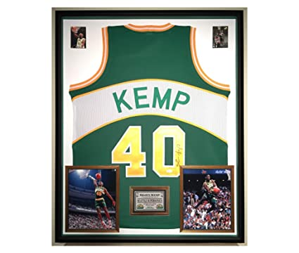 8d4b2df710c Image Unavailable. Image not available for. Color: Premium Framed Shawn  Kemp Autographed/Signed Seattle Supersonics Jersey - JSA COA
