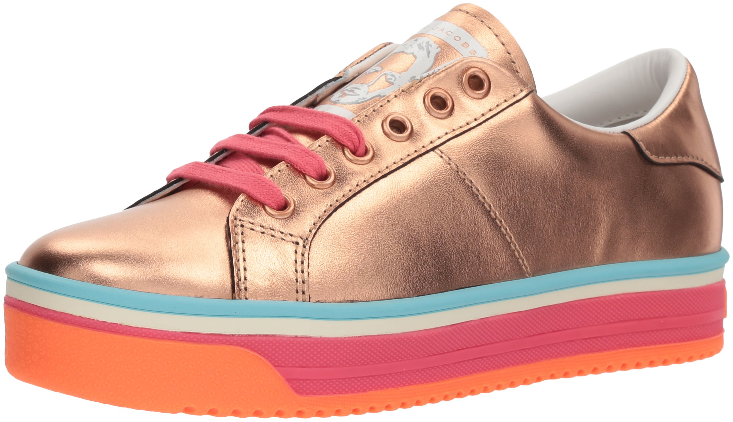 Marc Jacobs Women's Empire Multi Color Sole Sneaker, Rose Gold/Hot Pink/Multi, 37 M EU (7 US)