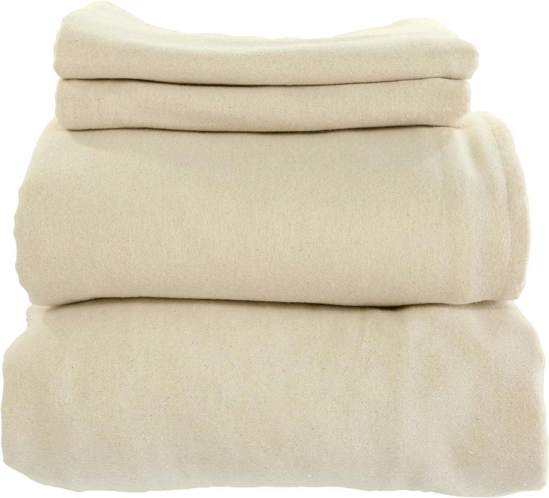 Whisper Organics Certified Organic Cotton Flannel Sheet Set (Queen, Natural)