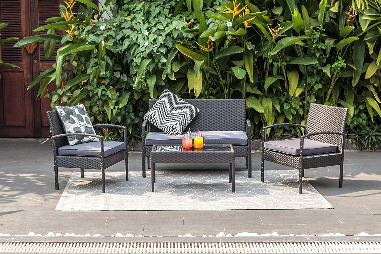 M&W 4 Piece Patio Furniture Set, PE Wicker Rattan Outdoor Sofa, 2 Cushioned Chairs, 1 Loveseat and 1 Coffee Table with Tempered Glass Top for Garden, Backyard, Porch, Balcony, Lawn, Poolside