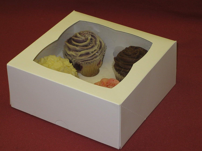 Cater For You - Caja para Magdalenas y Cupcake (Tapa con Ventana, con 4 cavidades, 25 Unidades)