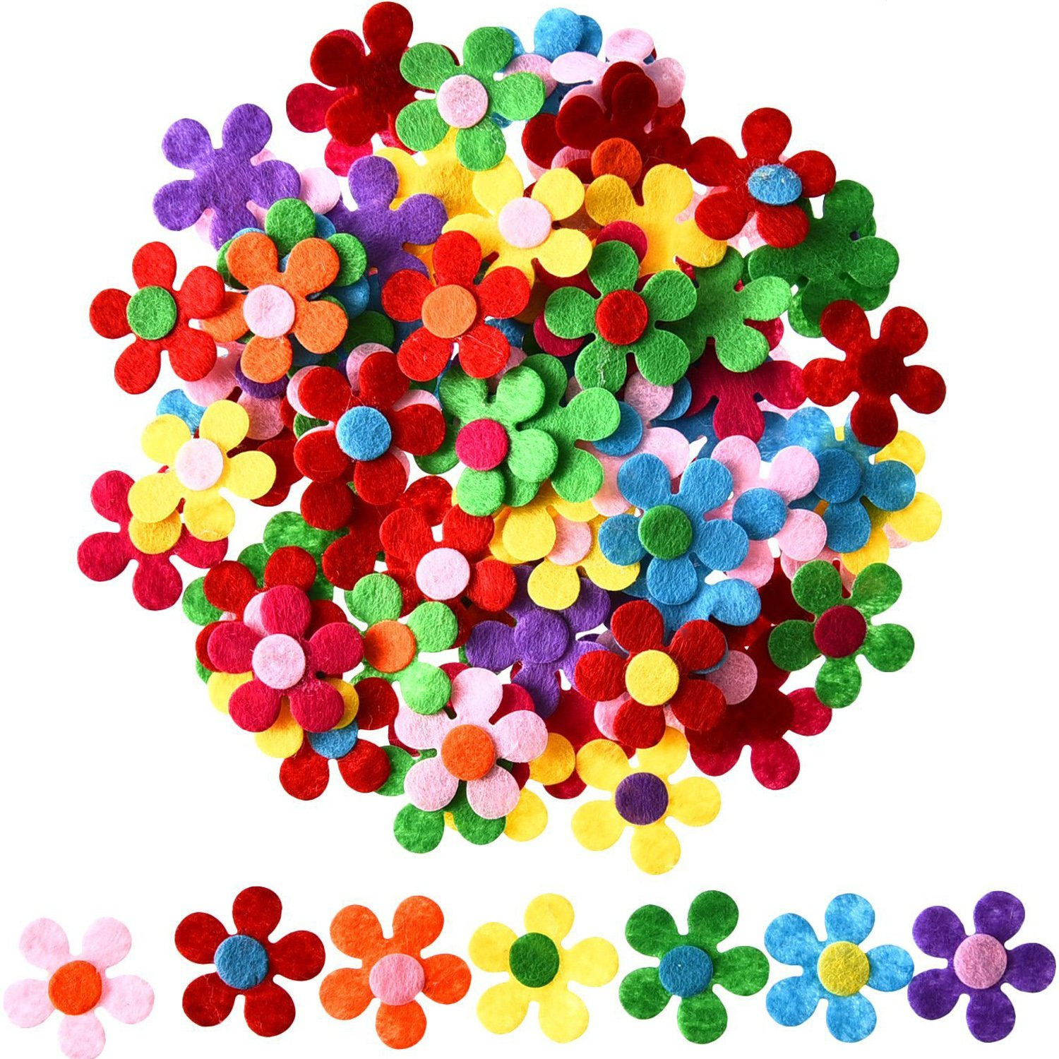 Sumind 100 Pieces Felt Flowers Fabric Flower Embellishments for DIY Crafts, Assorted Colors 4336935026