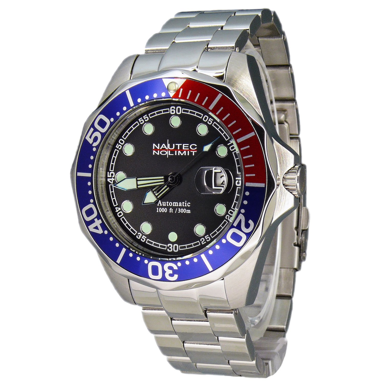 Nautec No Limit Herren-Armbanduhr Deep Sea Bravo Analog Automatik DSB AT-STSTRDBLBK