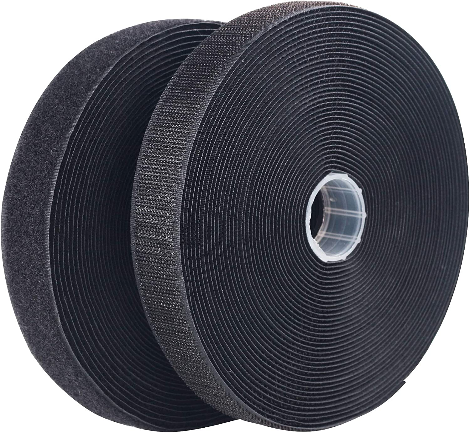 NHTB33 LLPT Sew On Hook and Loop Tape Nylon Fabric 1 Inch x 33 Each Roll Industrial Strength No Adhesive Strong Hook Loop Strip for Sewing on DIY Cloth Shoe Curtain Bag Sport Gears Color Black