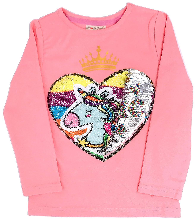 HH Family Flip Sequin Unicorn Shirt Tee for Girls 3-12 Years