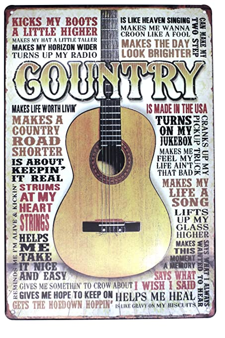 SUMIK Country Music Guitar Metal Tin Sign, Vintage Art Poster Plaque ...