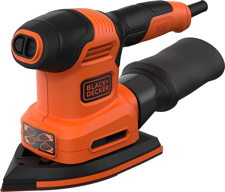 Black+Decker BEW200-QS Lijadora 4 en 1 Mouse/Rotorbital, 200 W, incluye 6 hojas, 2 platinas y accesorio para detalles