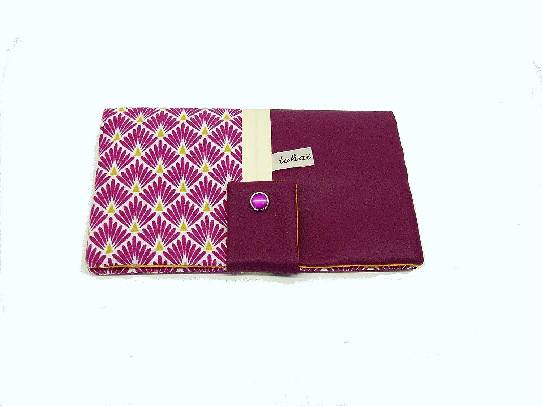 portefeuille violet a motifs geometriques , porte monnaie femme tout en un en simili cuir et tissu graphique , cadeau femme