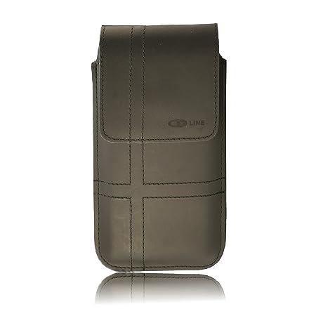 OrLine Vertikal Tasche für Handys Samsung Galaxy Xcover 3 Gürteltasche und Schlaufe Slim Design Case Echt Ledertasche Hülle H