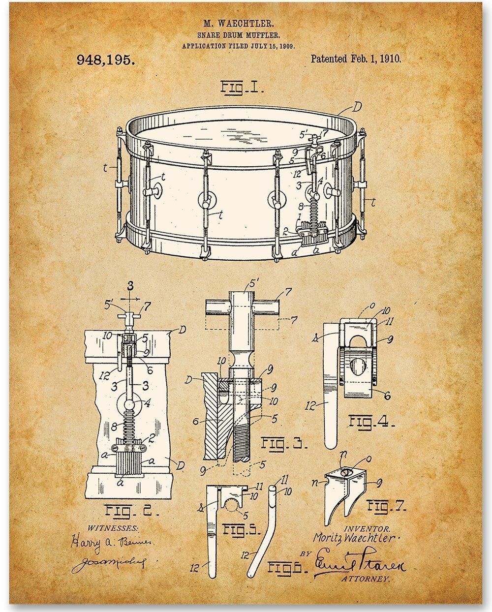 Waechtler Snare Drum Patent 11x14 Unframed Diagram Print Great Gift For Drummers Handmade