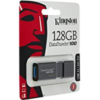 Kingston DT100G3/128 GB DataTraveler 100 G3, USB 3.0, 3.1 Flash Drive, 128 GB, Nero