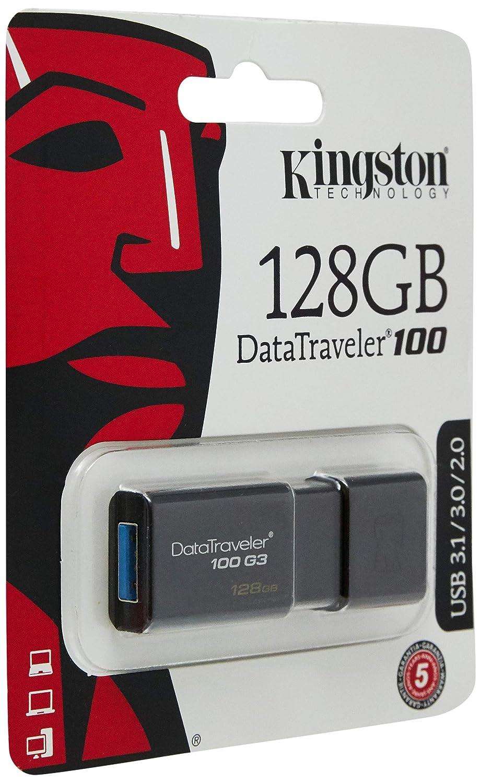 10MB//s Write DT100G3//128GB Kingston Digital 128GB DataTraveler 100 G3 USB 3.0 100MB//s Read
