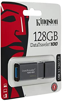 Kingston DataTraveler DT100G3 128GB USB 3.0 Flash Drive (Black) Pen Drives at amazon