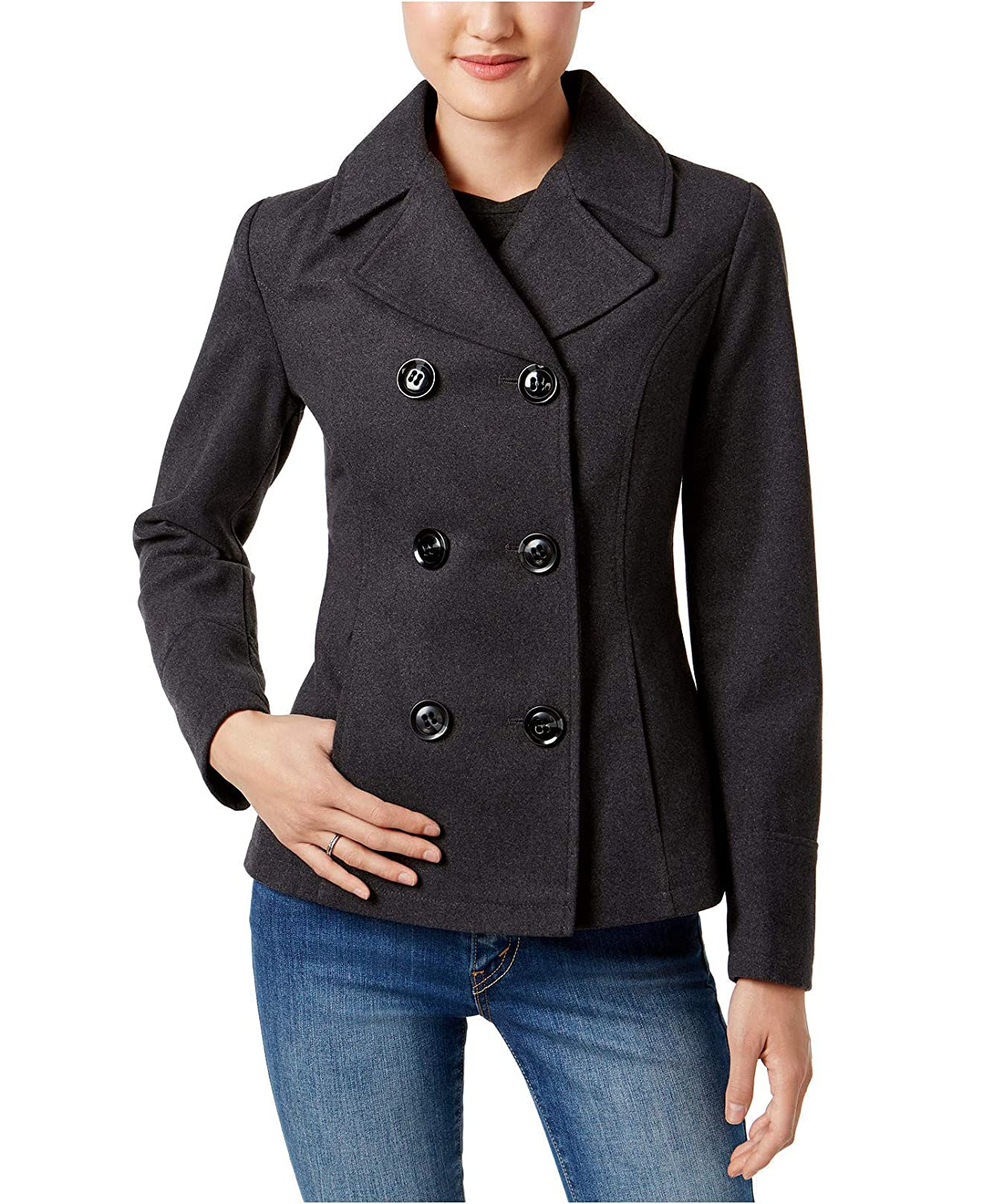 Charcoal CelebrityPink Womens Juniors Winter Warm Pea Coat