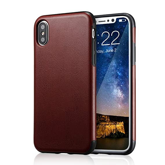 reputable site a14e4 a0ccc for iPhone Xs Brown Leather Case, for iPhone X Case, technext020 Ultra Slim  Fit iPhone 10 Artificial PU Synthetic Leather Cover Shock Resistance ...