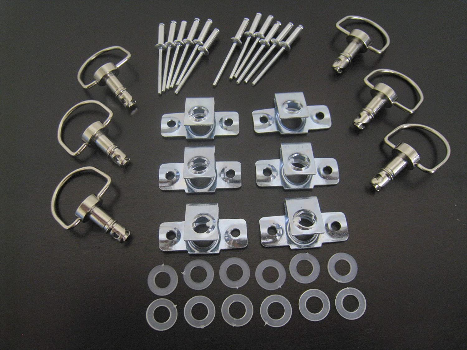 1//4 Turn Quick Release Race Fasteners with Rivets 6 Pack DzusType Panex D-Ring Length 17mm CaliBikerClub