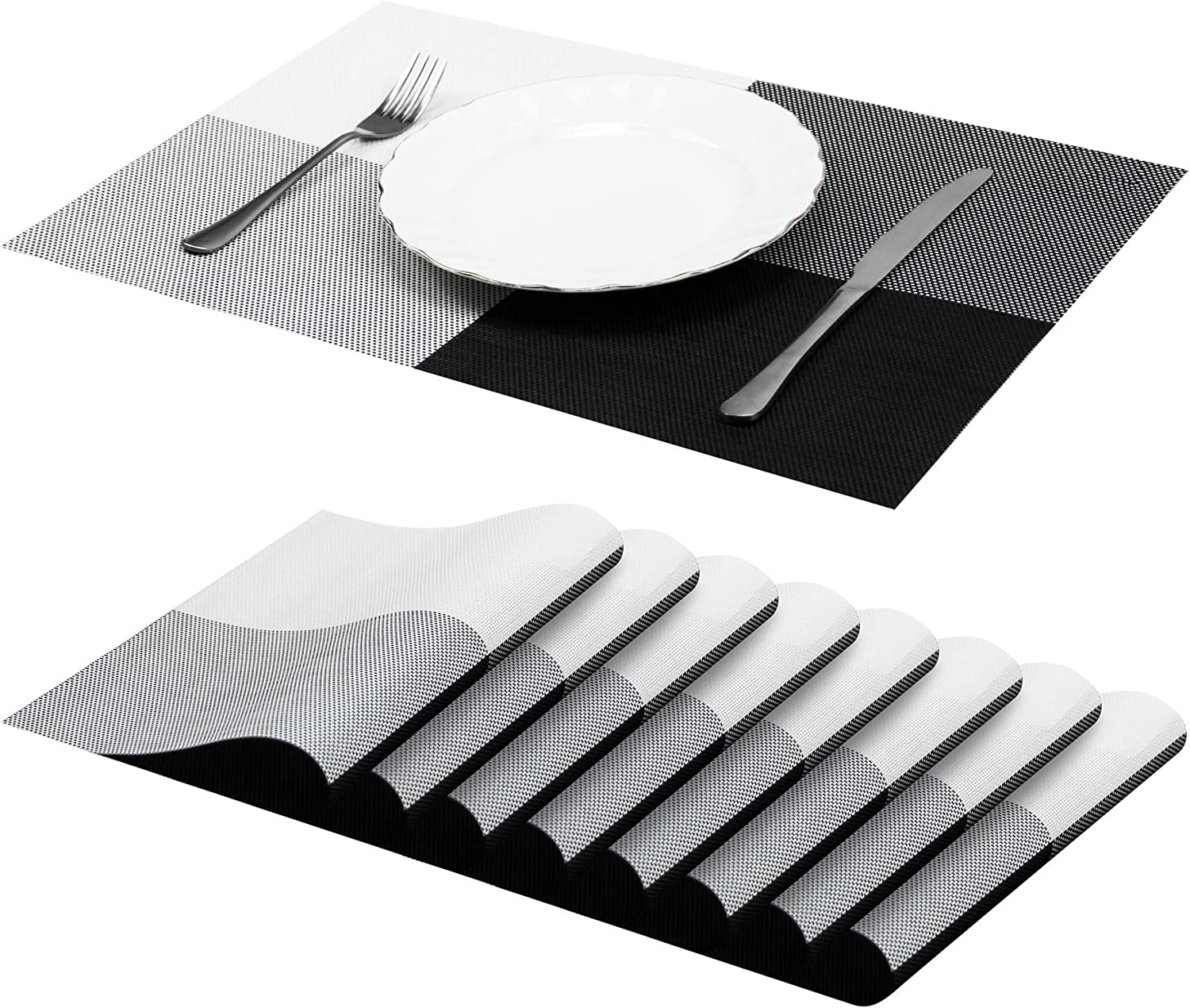 Jujin Placemats Set of 8 Non-Slip Washable PVC Heat Resistant Table Mats for Dining Table Gray