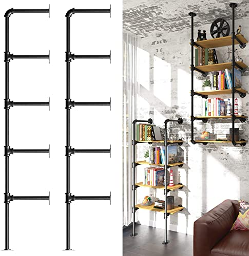 YITAHOME 5 Tier DIY Pipe Shelf Wall Mounted Industrial Retro Iron Shelf