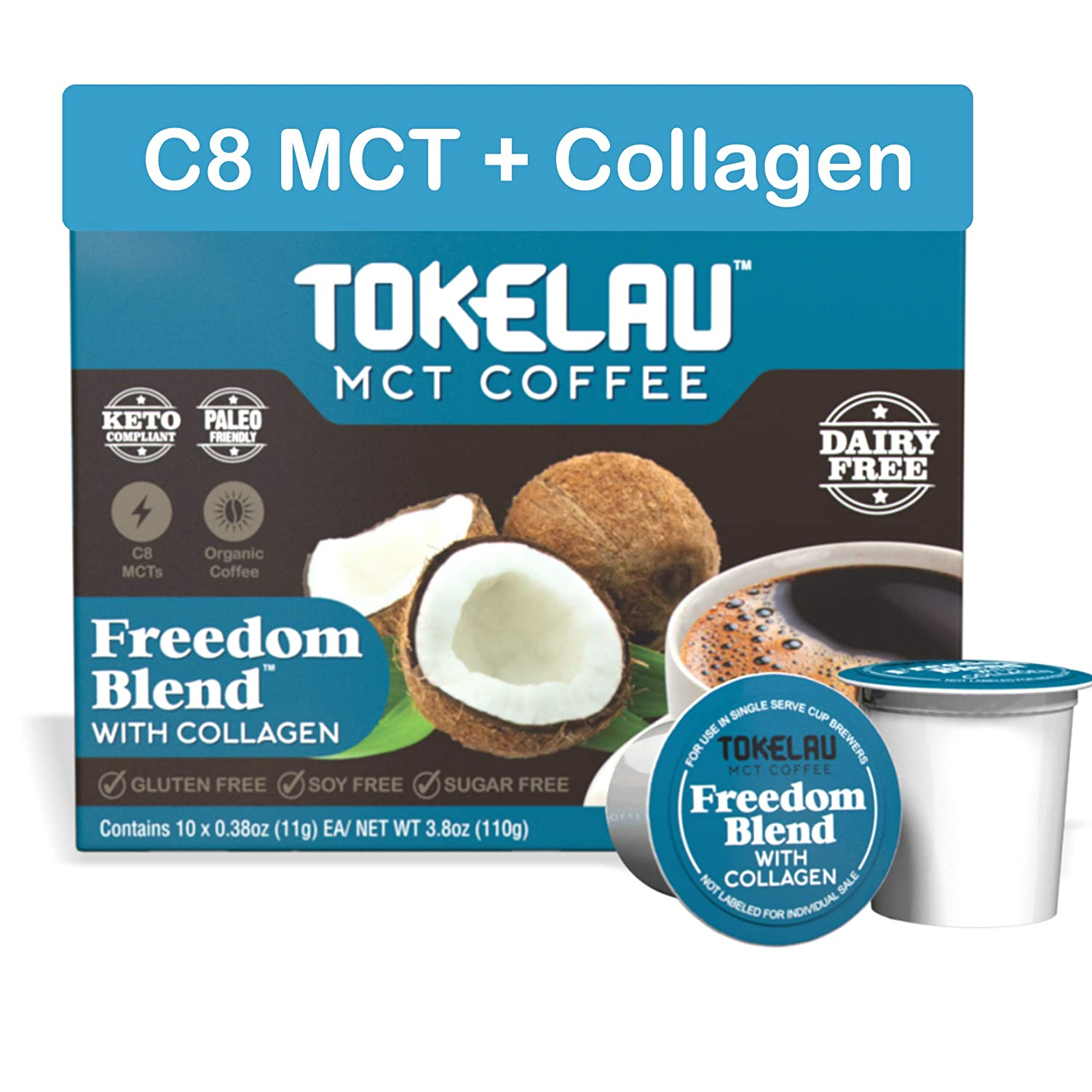 Tokelau Keto Coffee Pods for Keurig Style Brewers. Organic Ketogenic Coffee Pods with C8 MCT Oil and Collagen. Get Into Ketosis Fast and Burn Fat for Fuel. Sugar-Free and 100% Dairy Free.