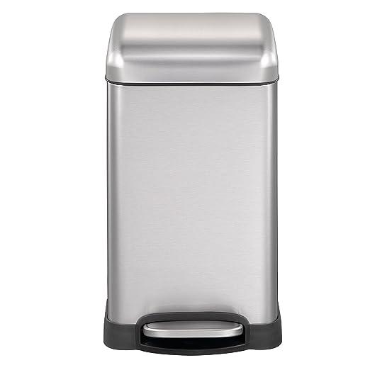 Mari Home Contenedor de Reciclaje | Cubo Basura 12L con Tapa Domo | Acero Inoxidable | para Dormitorio, Baño, Cocina, Jardín | A Prueba de Huellas ...