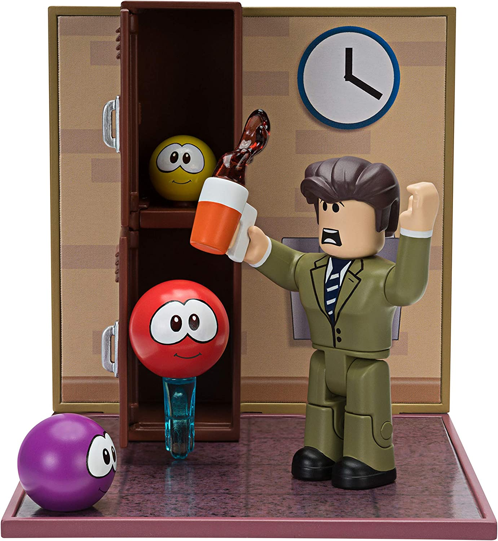 Amazon Com Roblox Desktop Series Collection Meep City Principal Panic Includes Exclusive Virtual Item Toys Games