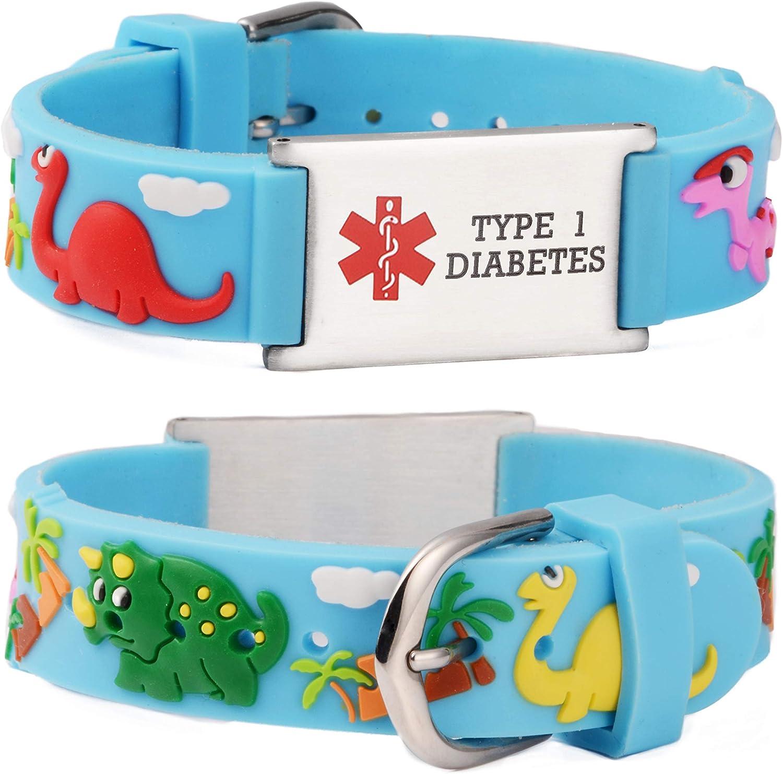 linnalove Cartoon Medical Alert id Bracelets Parents Gift to Son, Daughter, Brother, Sister-Dinosaur-Blue