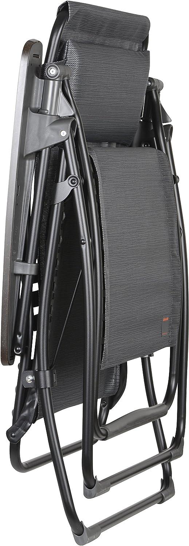 Lafuma LFM3056-6897 Futura Zero Gravity Recliner - Black Frame with Obsidian Natural Batyline Fabric