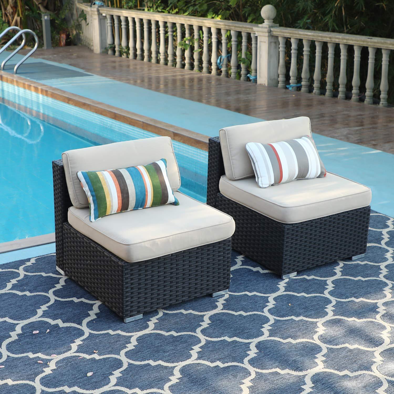 Amazon.com: PHI VILLA - Juego de muebles de mimbre para sofá ...