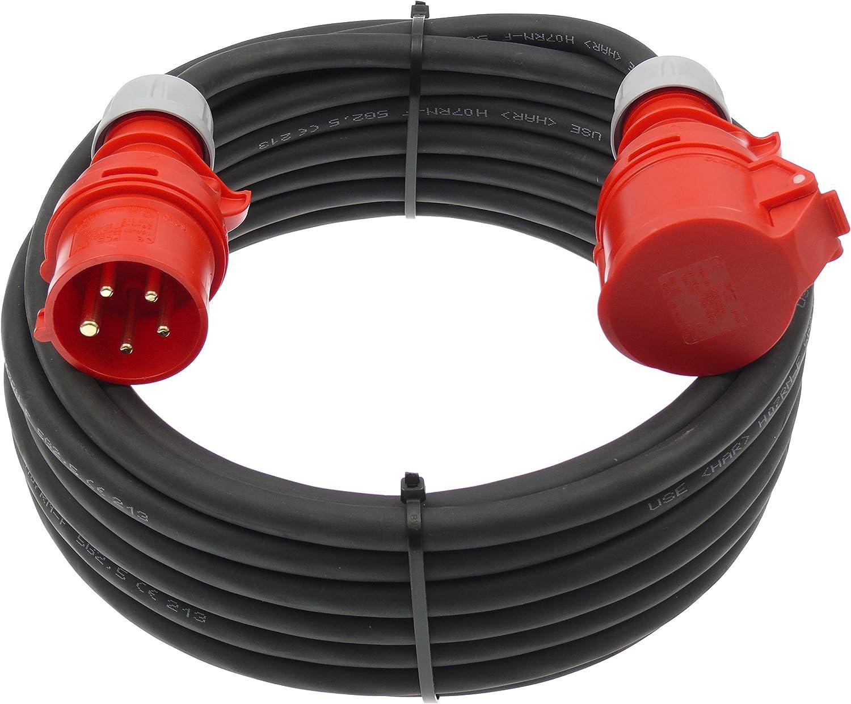 50m netbote24/® CEE Starkstrom Verl/ängerungskabel 16A H07RN-F 5x2,5mm/² IP44 Au/ßenbereich 5-50m